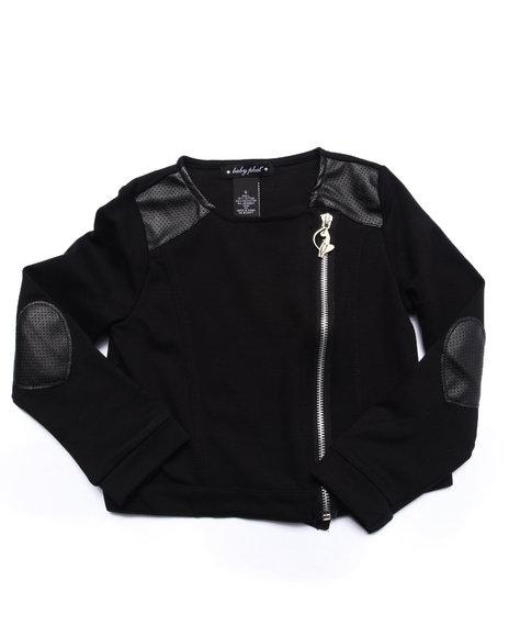 Baby Phat - Girls Black Pu Pieced Knit Jacket (4-6X)
