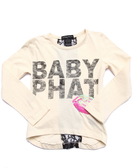 Baby Phat - Girls White Lace & Lipstick L/S Tee (4-6X) - $18.99