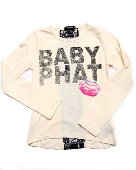 Baby Phat - Girls White Lace & Lipstick L/S Tee (7-16) - $21.99