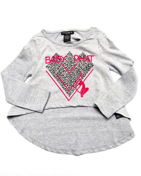 Baby Phat - Girls Grey Hi-Low Kitty Tee (4-6X)