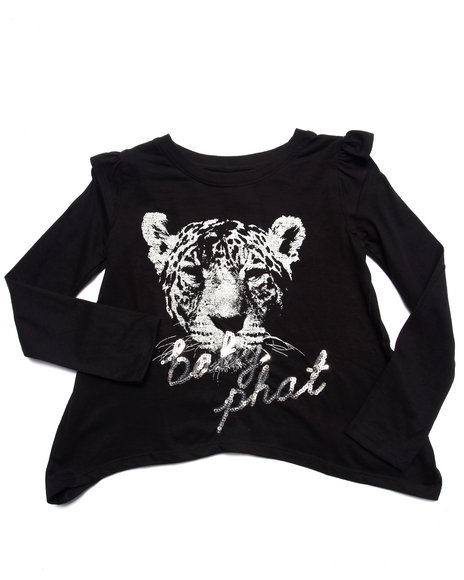 Baby Phat - Girls Black Tough Kitty L/S Top (7-16)