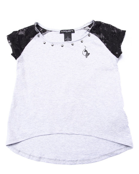 Baby Phat - Girls Grey Lacy Shoulder Top (7-16)