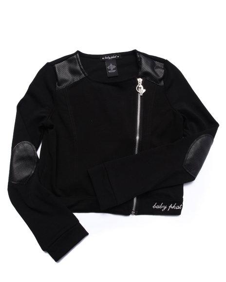 Baby Phat - Girls Black Pu Pieced Knit Jacket (7-16)