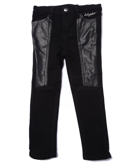 Baby Phat - Girls Black Pu Pieced Skinny Jean (2T-4T)