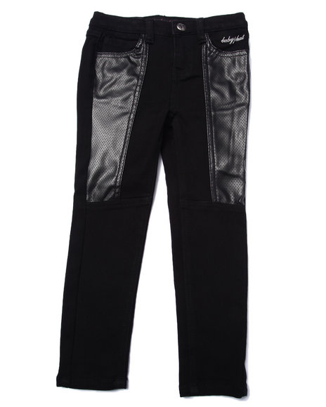 Baby Phat - Girls Black Pu Pieced Skinny Jean (4-6X)
