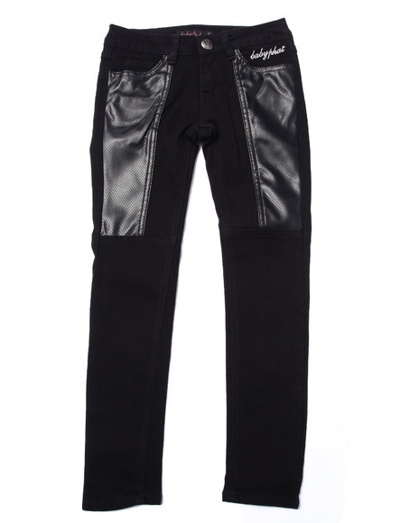 Baby Phat - Girls Black Pu Pieced Skinny Jean (7-16)