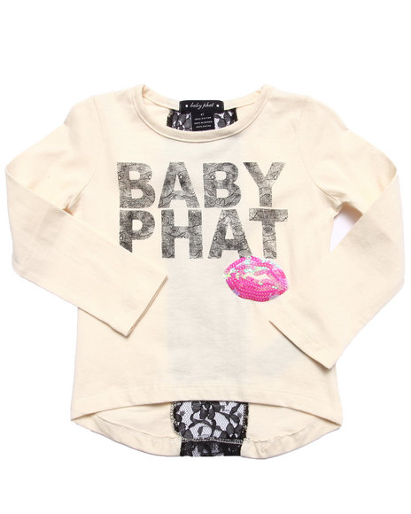 Baby Phat - Girls White Lace & Lipstick L/S Tee (2T-4T)