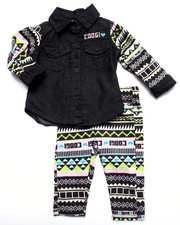 COOGI - 2 PC SET - CHAMBRAY TOP & PRINTED LEGGINGS (INFANT)