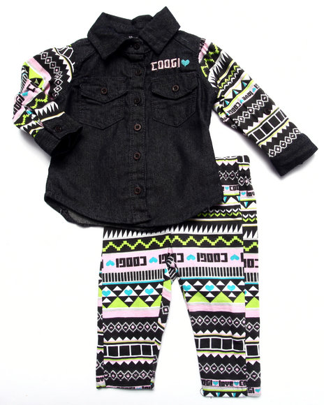 Coogi - Girls Black 2 Pc Set - Chambray Top & Printed Leggings (Infant)