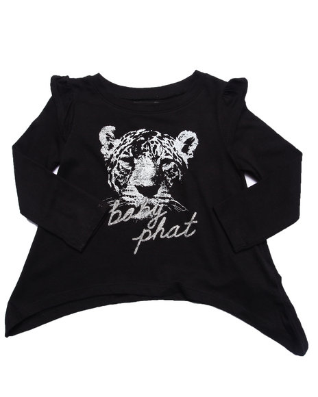 Baby Phat - Girls Black Tough Kitty L/S Top (2T-4T)