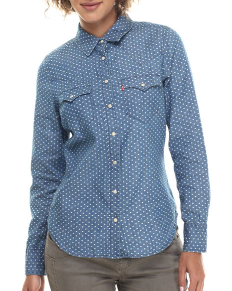 Ur-ID 207277 Levi's - Women Blue All Over Dot Tailored Chambray Shirt