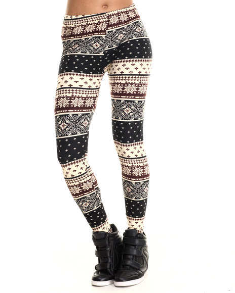 Ur-ID 207045 Fashion Lab - Women Black,Maroon Snowflake Cabin Fever Legging