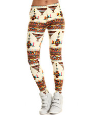Women - Teepee Feathers Print Legging