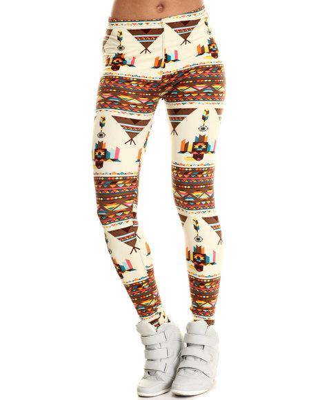 Fashion Lab - Women Brown,Multi Teepee Feathers Print Legging
