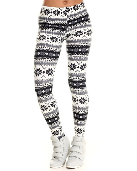 Fashion Lab - Women Black,Grey Snowflake Cabin Fever Legging