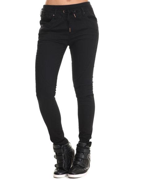 Ur-ID 215021 Bianco Jeans - Women Black Twill Jogger Pant