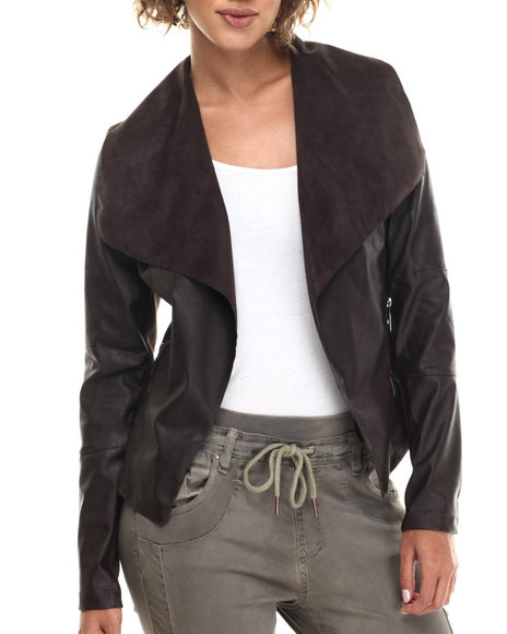 Bianco Jeans - Women Brown Vegan Leather Drape Front Jacket
