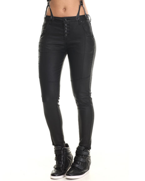 Ur-ID 207055 Bianco Jeans - Women Black Skinny Boyfriend Coated Suspender Jean