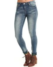 Women - Skinny Jean Green Cuff Jean