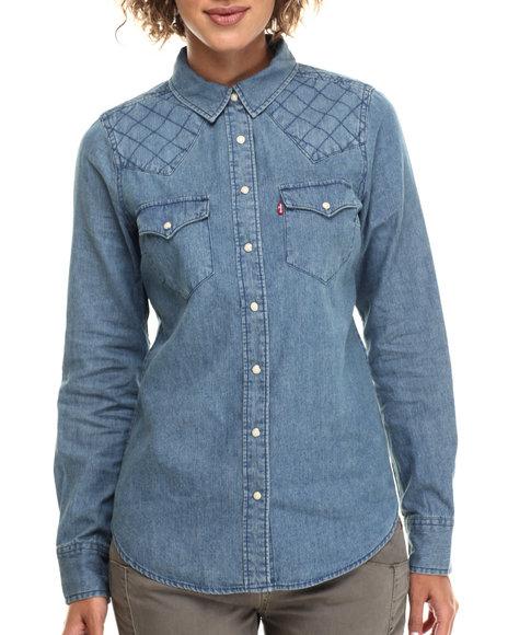 Levi's - Women Medium Wash Qulited Tailored Chambray Shirt