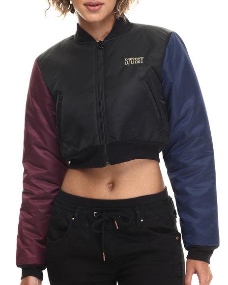Stussy - Women Black Cropped Bomber Jacket