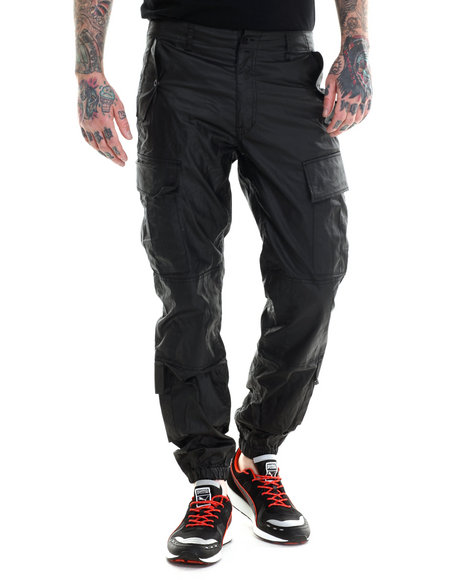 Rocawear Blak - Men Black Heartless Coated Cargo Slim Fit Pants