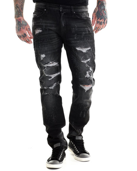 Rocawear Blak - Men Black Rip And Run Slim Fit Jeans
