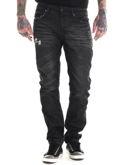 Rocawear Blak - Men Black Rager Slim Fit Jeans