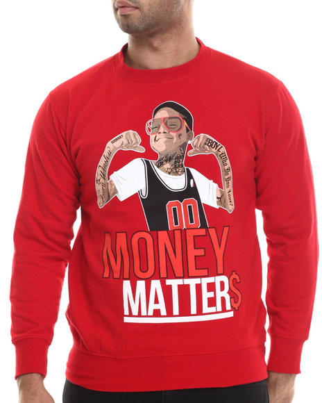 Buyers Picks - Men Red Money Matters Crewneck Sweatshirt