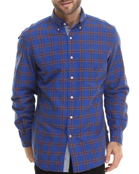 Ur-ID 207178 Nautica - Men Blue Plaid Oxford L/S Button-Down