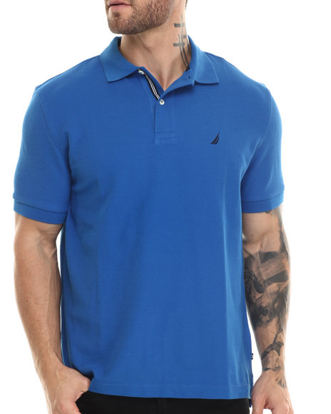 Nautica - Men Blue Honeycomb Pique Polo