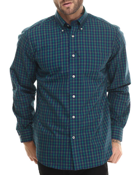 Nautica - Men Blue Poplin L/S Button-Down