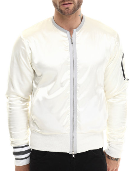 Eptm. - Men White African Tusk Satin Bomber - $63.99