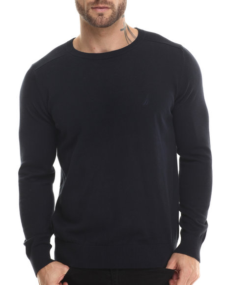 Nautica - Men Navy Mixed Texture Sweater