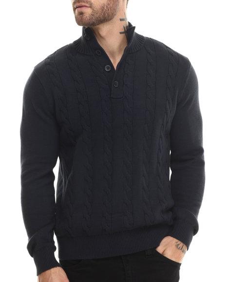 Nautica - Men Navy Button Mock Sweater