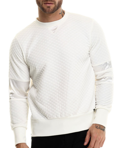 Eptm. - Men White Quilted Snow Officer Crewneck Sweatshirt