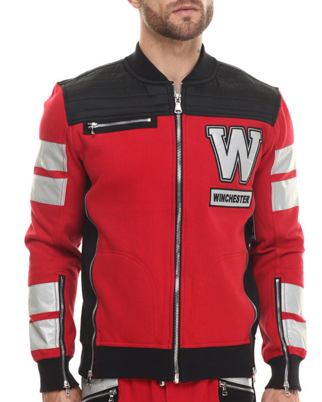 Winchester - Men Red Winchester Oxford Nylon 3M Moto Sport Jacket