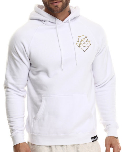 Pink Dolphin - Men White Foil Waves Hoodie