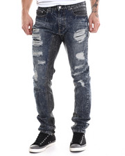 Men - Denim/Faux Leather Pieced Pants