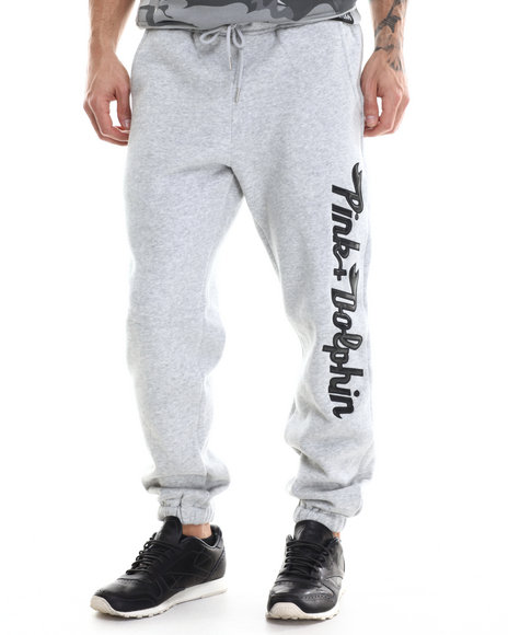 Pink Dolphin - Men Grey Script Sweatpants