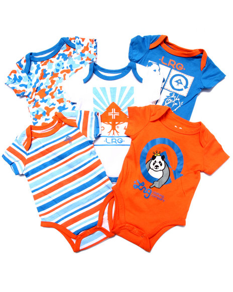 Lrg - Boys Orange 5 Pack Bodysuits (Newborn)