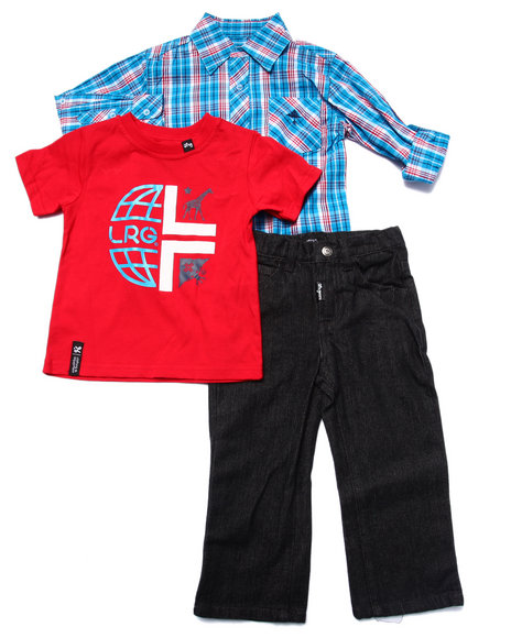 Lrg - Boys Red 3 Pc Set - Woven, Tee, & Jeans (2T-4T)