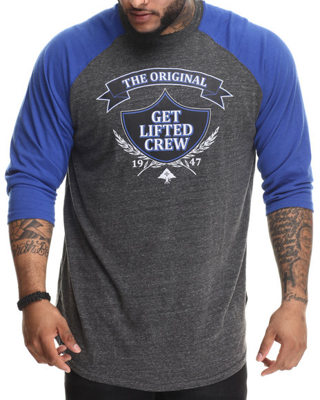 Lrg - Men Black Research Collection Get Lifted Raglan (B&T)