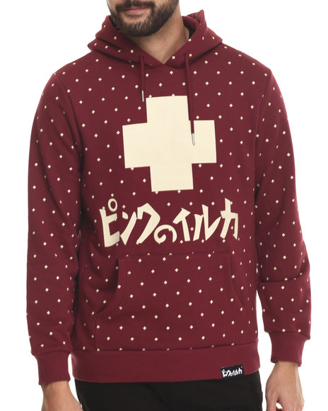 Pink Dolphin - Men Maroon All Over Promo Hoodie - $63.99