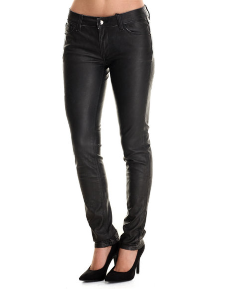Ur-ID 212789 Bianco Jeans - Women Black Skinny Vegan Leather Jean