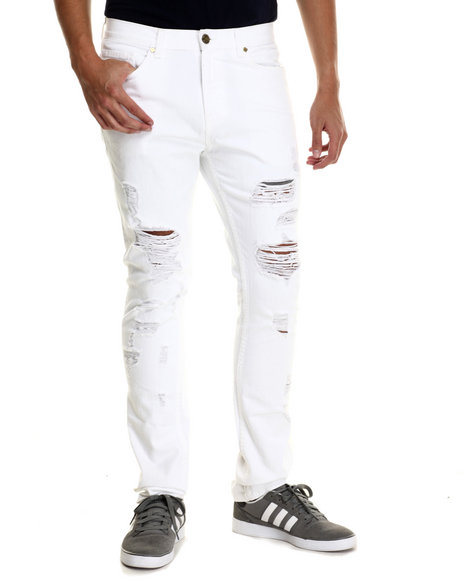Pink Dolphin - Men White Light Wash Denim Jeans