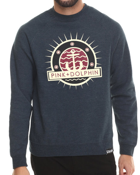 Ur-ID 212793 Pink Dolphin - Men Navy Anchor Splash I I Crewneck Sweatshirt