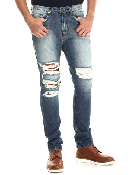 Pink Dolphin - Men Light Wash Ripped Denim Jeans