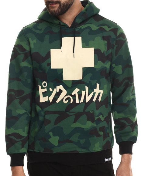 Pink Dolphin - Men Green Camo Promo Hoodie