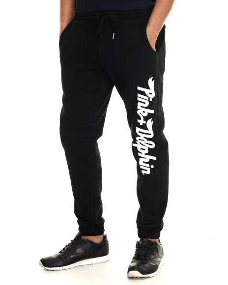 Ur-ID 212801 Pink Dolphin - Men Black Script Sweatpants